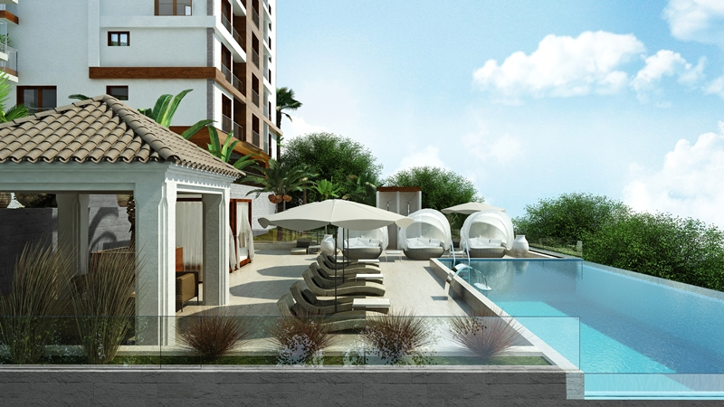 Two-bedroom apartment in development with pool and wellness center