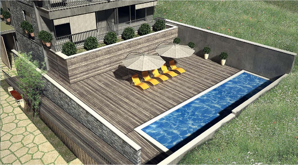 Studio in residential development with pool