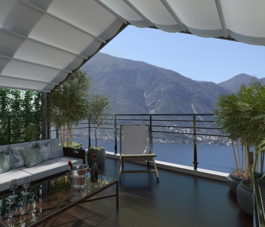 Duplex in villa with panoramic sea view in the Bay of Kotor