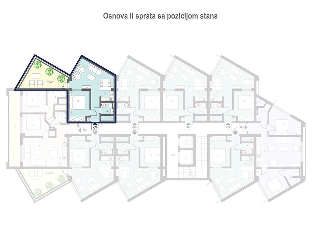 Apartment in the new residential complex with sea view in Tivat