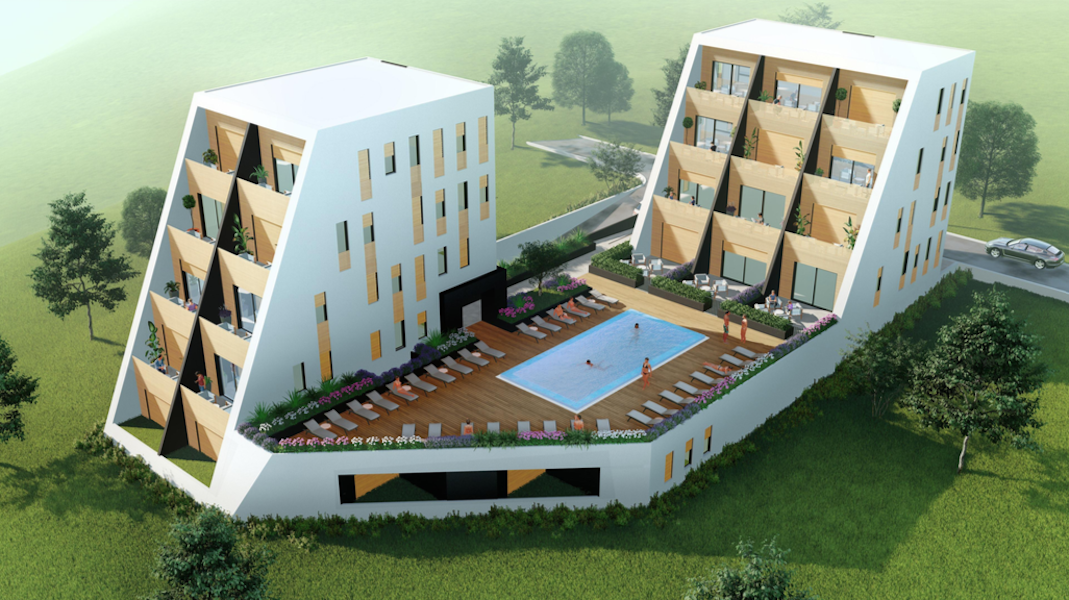 Two-bedroom apartment in the new development with swimming pool in Tivat
