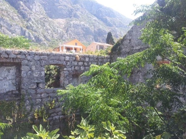 Ruins on waterfront in Kotor Bay